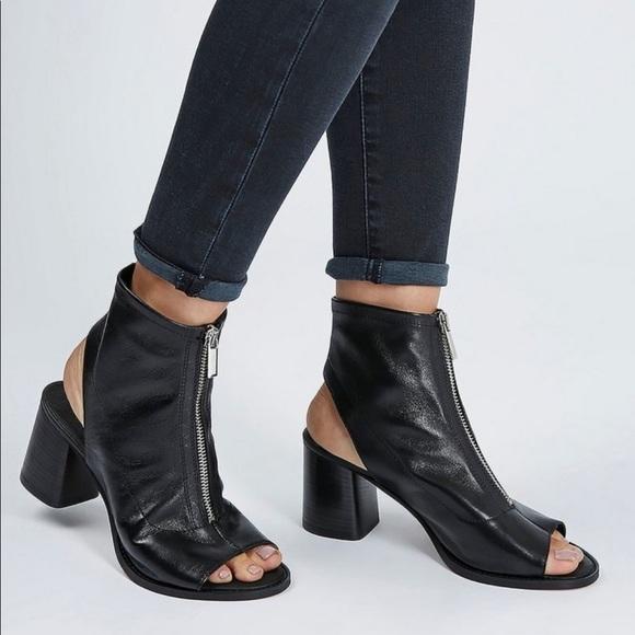 Topshop Shoes - TOPSHOP Nappa Open Toe Zipper Booties—9.5